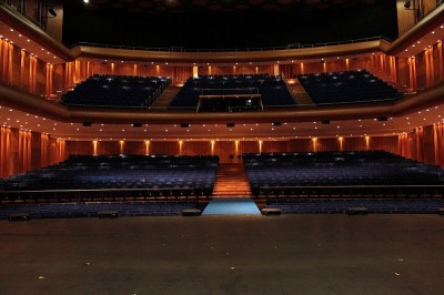 Looking at the concert hall seating from the stage