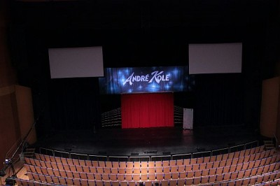 The stage showing Andre's backdrop and curtain setup, taken from the balcony