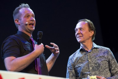 Andre on stage with Jim Munroe of The Maze