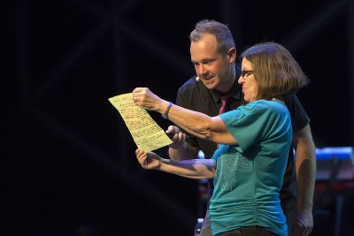 Sheila on stage with Jim Munroe at Cru15